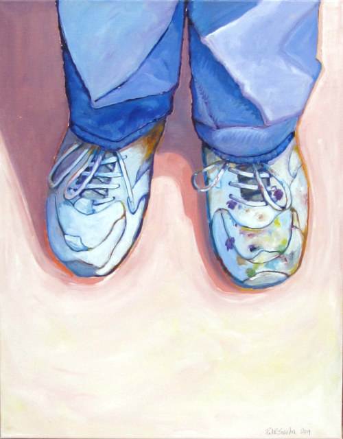 A painting of a pair of shoes on the ground