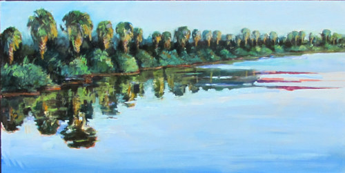 A painting of a row of trees overlooking a cove