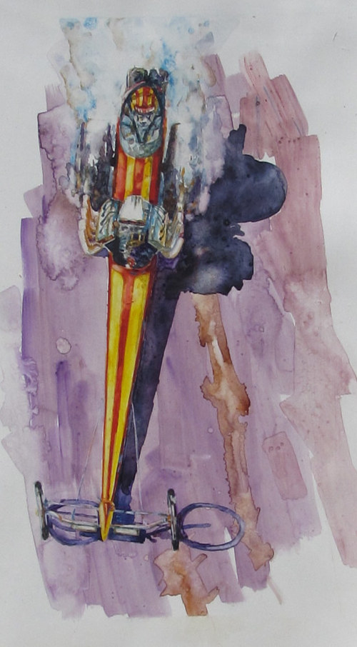A watercolor painting of a drag racer