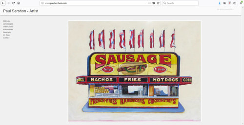 A screen capture of Paul Sershon's art website