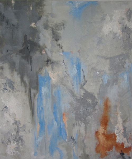 A grey painting with flecks and planes of blue