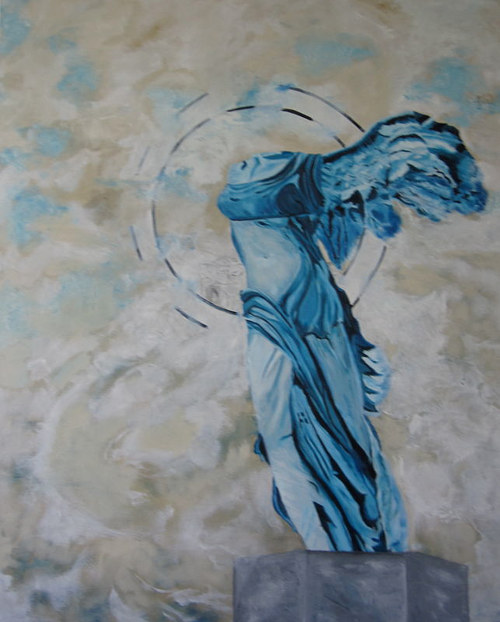 A painting in blue and grey of a headless statue