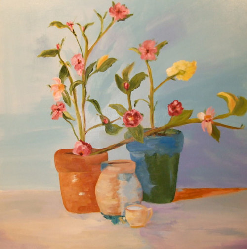 A painting of several flowers growing from pots