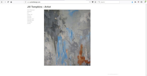 The front page of Jill Tompkins' artist website
