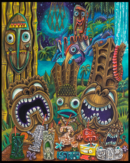 A painting of a few tiki figures drinking at a bar