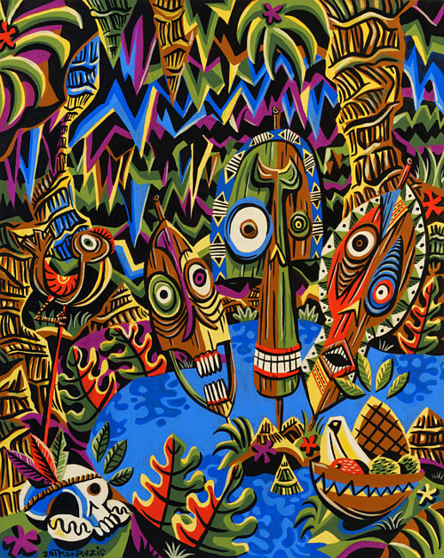 A painting of tiki mythological figures in a pool