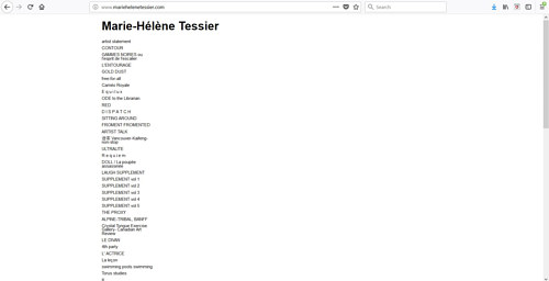 A screen capture of Marie-Hélène Tessier's art website