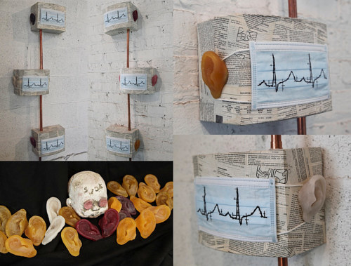 A composite image of an installation relating to illness