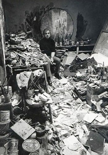 Francis Bacon in his art studio