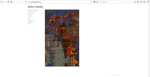 A screen capture of the front page of Helen Vokaty's art website