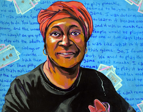 A painting of a woman with a background of her words