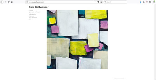 A screen capture of Sara Kaltwasser's art website