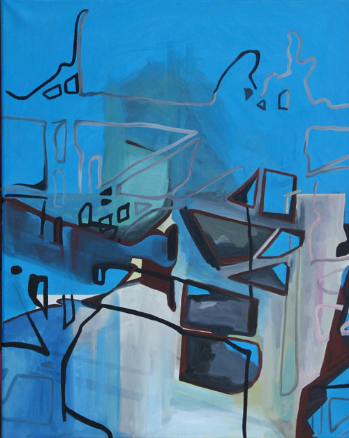 An abstract painting in blue hues