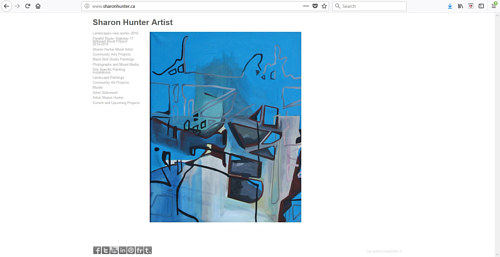 The front page of Sharon Hunter's art website