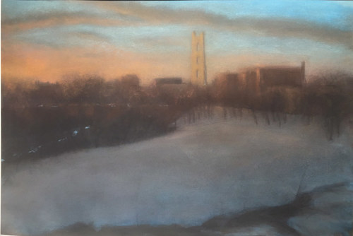 A pastel drawing of a city with a concrete clearing