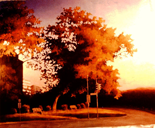 A painting of a tree on a city corner