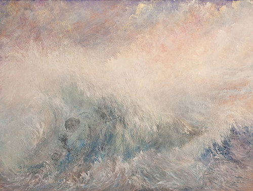 A painting of a warm-toned, violent seascape