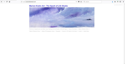 A screen capture of the front page of Marion Krahn's art website