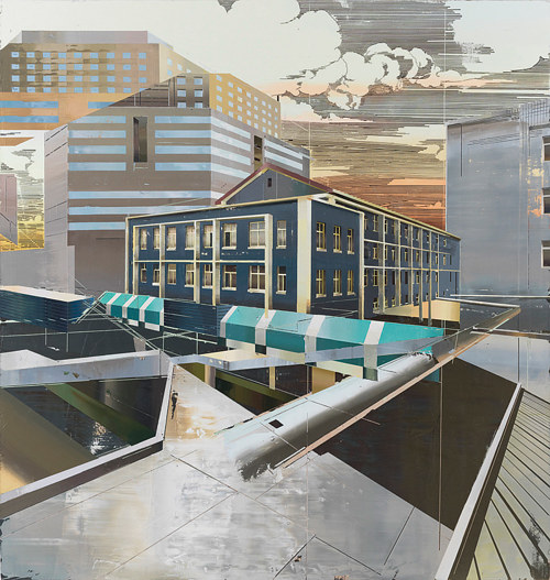 A painting of several changing, overlapping buildings