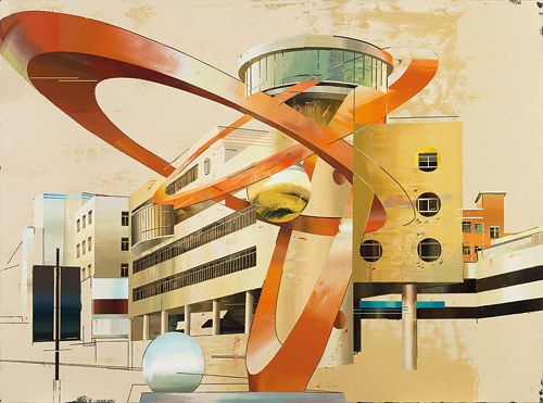 A painting of overlapping sculptural architecture
