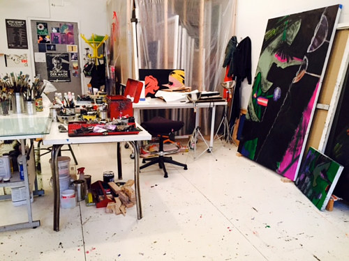 A photograph of Ellen Birkenblit's art studio