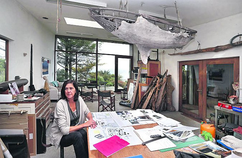 A photo of Dorothy Cross in her art studio