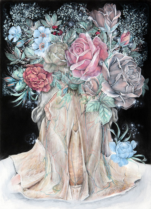 A painting of an anatomical human neck with florals where the head would be