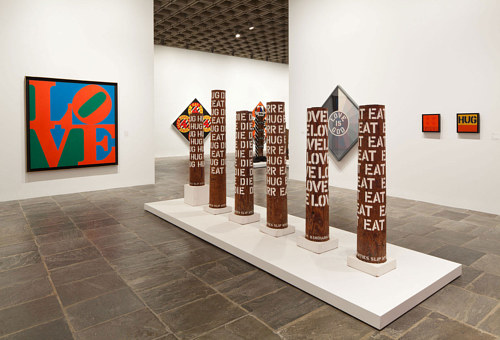 An installation view of the Robert Indiana retrospective at the Whitney Museum