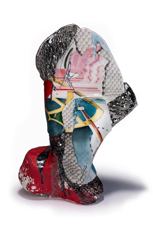 A ceramic and mixed-media abstract sculpture