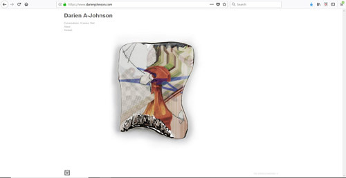 A screen capture of Darien Johnson's art website