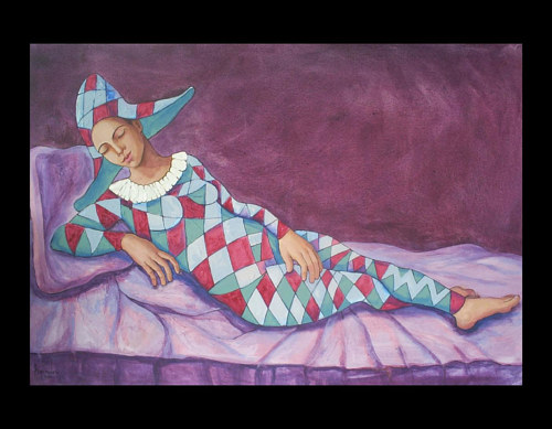 A painting of a woman in harlequin dress reclining