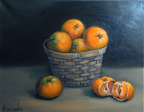 A still-life painting of a basket of oranges