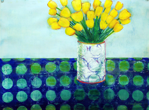 A hand-painted monotype of yellow tulips