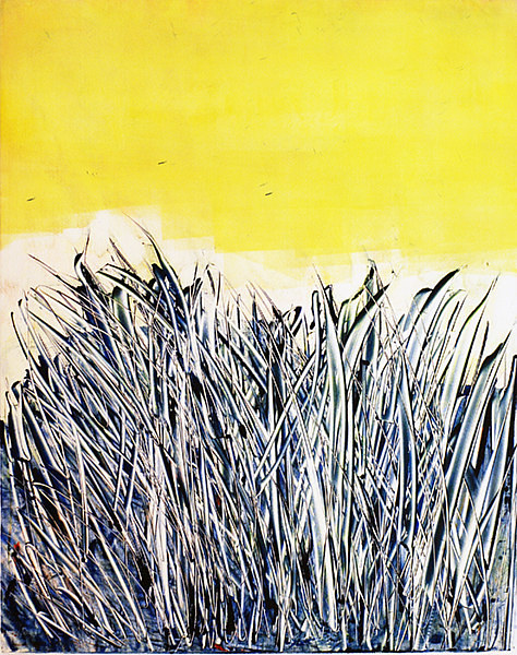 An abstracted painting of grass with a yellow sky