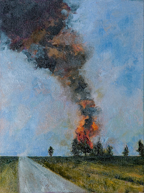 A painting of a burning tree after a lightning strike
