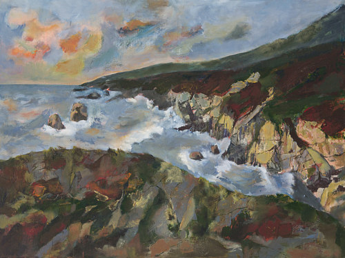 A painting of water running past cliffs