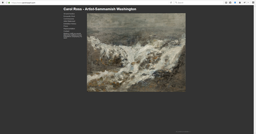 A screen capture of Carol Ross' art website