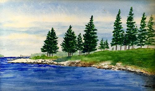 A watercolor painting of a row of trees in front of a body of water