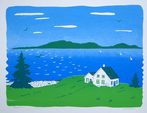 A screen printed image of a seaside house