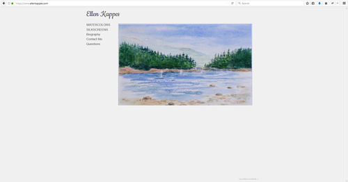 The front page of Ellen Kappes' art website