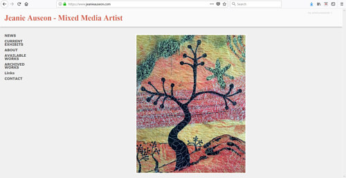 A screen capture of Jeanie Auseon's art website