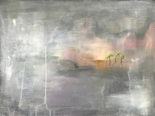 A painting with a small seedling on a textured grey background