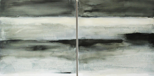 A diptych painting of grey abstract planes