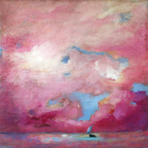 A painting of a sailboat under a large pink sky