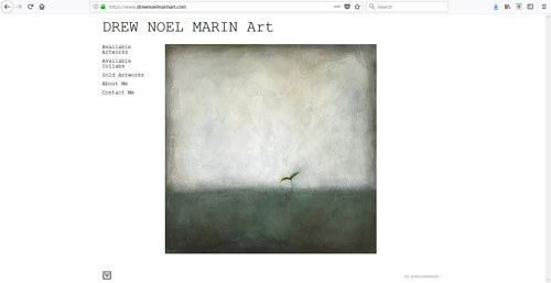 A screen capture of Drew Noel Marin's art website