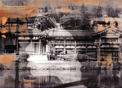 A double exposed photograph with Japanese architectural elements