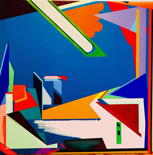 A painting using bright colors and hard-edged geometric forms