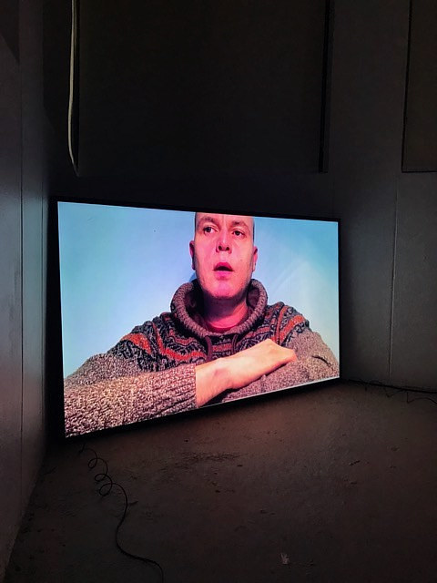 An installation view of a video art project