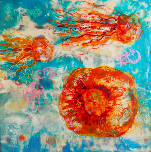A wax painting of some red jellyfish