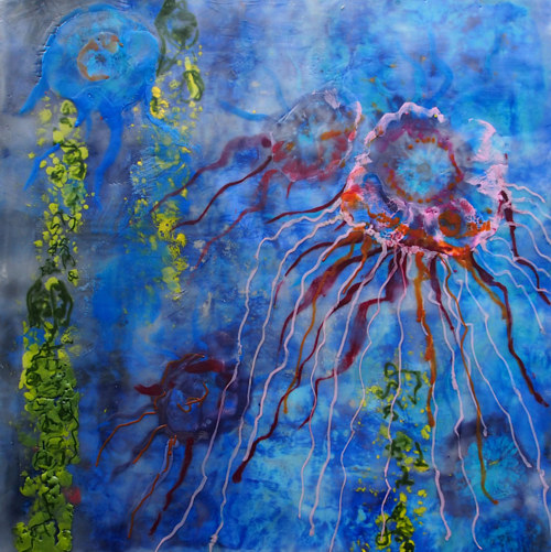 An encaustic painting of an underwater scene